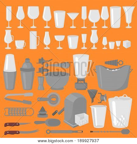 Bar Glassware Cocktails, Beer and Wine Glasses. Rocks, shoot and highball. Old fashioned, tumbler, collins and hurricane. Barman Tools. Bartender equipment. Isolated instrument icon
