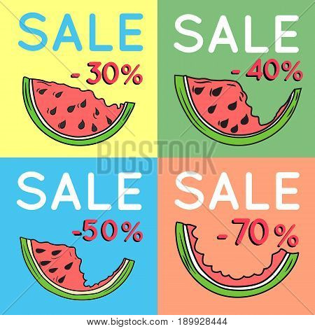 Set of summer sale backgrounds with watermelon