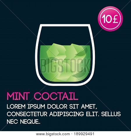 Mint cocktail card template with price and flat background