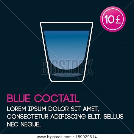Blue cocktail card template with price and flat background