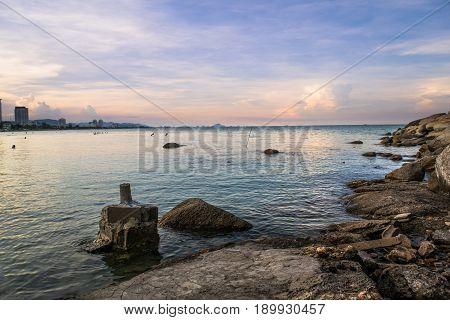 Seascape rocks and Horizon in Hua Hin, Thailand