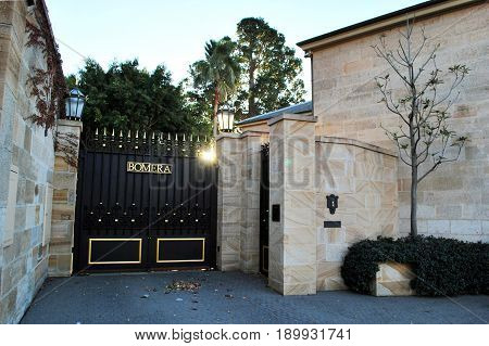 SYDNEY, AUSTRALIA - JULY 11, 2014: The Bomera gate. Bomera is the Italianate sandstone Historic Sydney mansion, located on the Potts Point peninsula. Its estimated worth is $25 million.