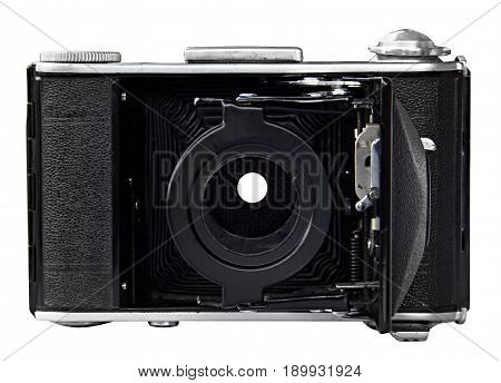 retro old photo camera on white background. Front view, without lens