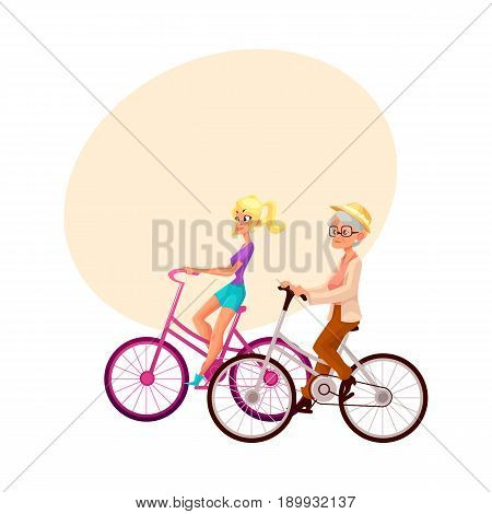 Old and young woman, mother and daughter, grandmother and granddaughter, riding bicycle, cycling together, cartoon vector illustration with space for text. Old and young women riding bicycles