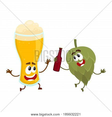 Funny beer glass and hop characters having fun, drinking, celebrating together, cartoon vector illustration isolated on white background. Funny beer glass and hop characters with smiling human faces