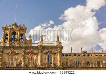 Famous And Historic Plaza Mayor Detail In Salamanca, Castilla Y Leon, Spain