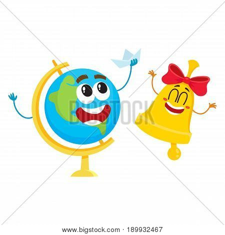 Cute and funny smiling globe and golden bell characters, back to school concept, cartoon vector illustration isolated on white background. Happy school bell and globe characters, mascots