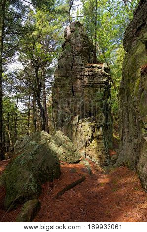 forests and bluffs of castle mound pine forest near black river falls wisconsin
