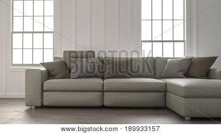 Comfortable large upholstered modular sofa in front of two bright windows in a simple minimalist living room interior. 3d rendering