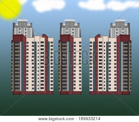 Facade of a tall residential buildings. High rise buildings modern architecture skyline.