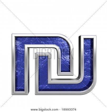 Schekel aus blauem Glas mit Chrom Alphabet Frameset, isolated on White umgewandelt. Computer generat