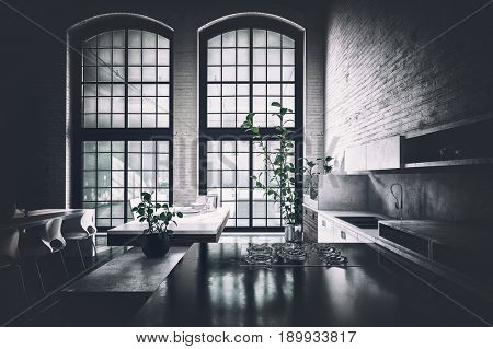 Dark shadowed fitted kitchen in a loft lit by dim light from large windows falling on fitted cabinets and appliances. 3d rendering