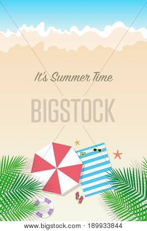 Summer Time Background. Season Vacation, Weekend. Vector Illustration.