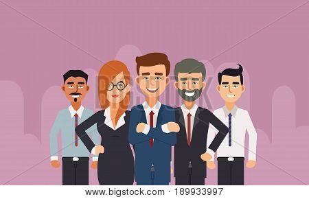 Group of business people with businessman leader in front. Happy Business People Flat Illustration Vector.