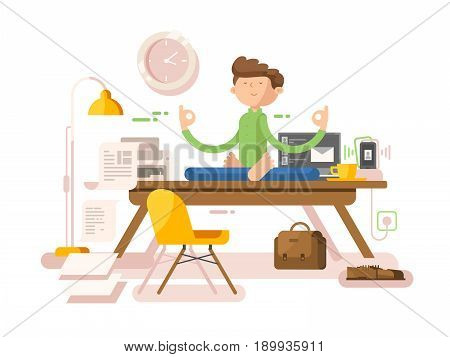Meditation businessman in office. Yoga man, meditating professional, lotus sitting, pose relaxation, vector illustration