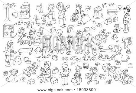 People leaving airport luggage, animals Colorful drawing illustrations, funny mascots