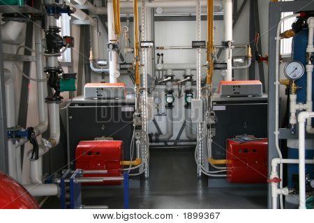 Interior Of Modern Gas Boiler-House