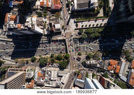 Top View of 23 de Maio Avenue in Sao Paulo, Brazil