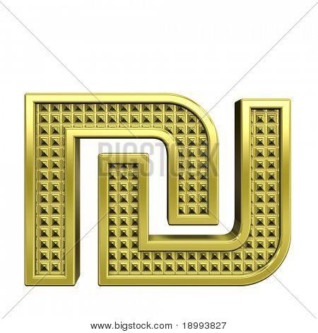 Schekel aus gerändelten gold Alphabet, isolated on White. Computergenerierte 3D Foto rendering