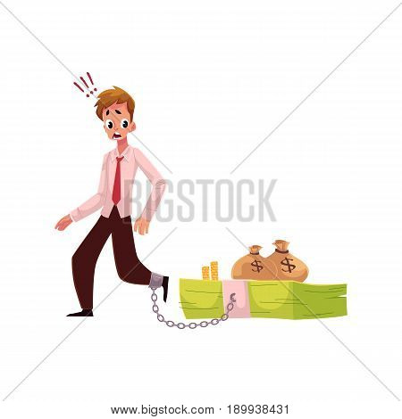 Young man with leg chained to bundle of banknotes, money dependence concept, cartoon vector illustration isolated on white background. Man with foot chained to bundle of money, financial dependence