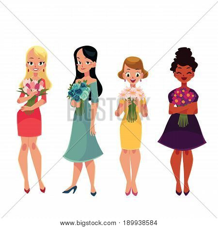Set of beautiful women, girl standing, holding bunched of flowers, cartoon vector illustration isolated on white background. Happy smiling girls, women, black and Caucasian, holding bunches of flowers