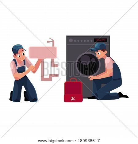 Plumbing specialist, plumber repairing wash bowl, washing machine, cartoon vector illustration isolated on white background. Plumber, plumbing specialist, repairman at work, fixing sink and washer