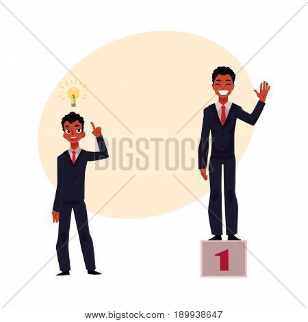 Black, African American businessman, manager has insight, gets idea, achieves and celebrates success, cartoon vector illustration with space for text. Black businessman, idea and success