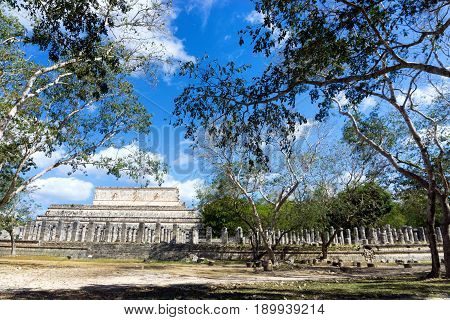 View of the temple of a thousand warriors in the ruins of Chichen Itza in Mexico