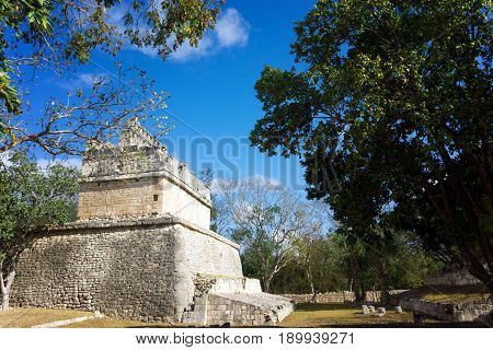 Temple in Chichen Itza Mexico known as the Red House