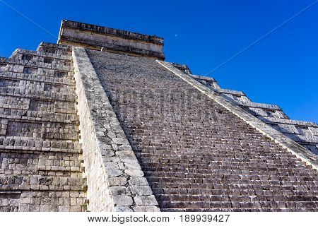Stairs leading up the pyramid known as El Castillo in Chichen Itza Mexico