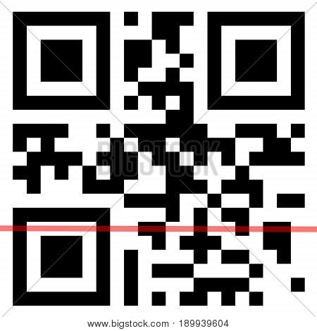 QR Code with scanning red line on a white background.