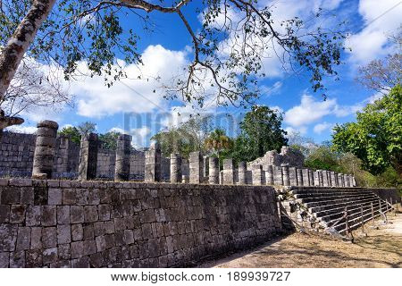 View of the temple of a thousand warriors in the ancient Mayan ruins of Chichen Itza in Mexico
