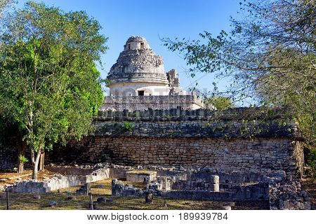Observatory known as El Caracol in Chichen Itza Mexico