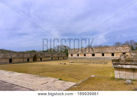Courtyard of old Mayan ruins known as the Nunnery in Uxmal Mexico