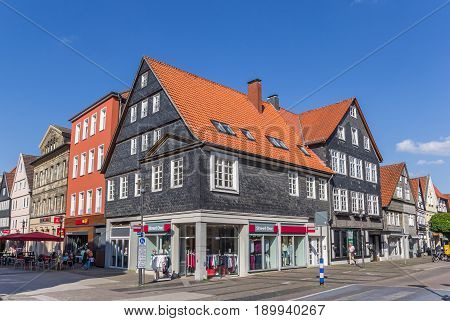 DETMOLD, GERMANY - MAY 22, 2017: Shopping street in the historic center of Detmold, Germany