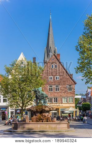 DETMOLD, GERMANY - MAY 22, 2017: Houses and church tower at the market square of Detmold, Germany