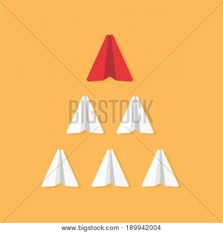 Leadership concept. Red paper plane leading white airplanes. Success winner abstract vector illustration.