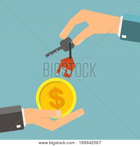 Real estate concept. Hand of real estate agent holding holds a key for home and buyer hold coin. Vector illustration.