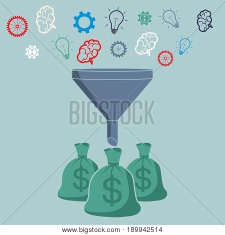 Profit and investment concept. Brains lightbulb and gears falling into the funnel converted to the money.