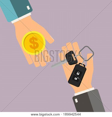 Car rental or sale concept. Hand of agent hold car key hand of buyer hold gold coin. Vector illustration