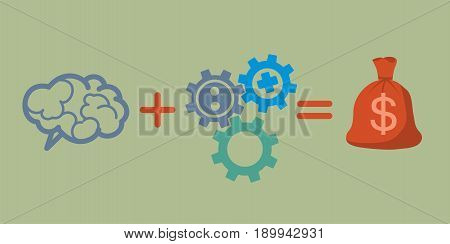 Profit and investment concept. Brains plus gears equally money profit.