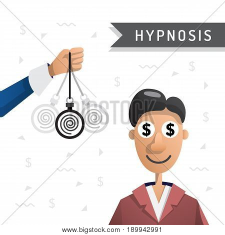 Vector illustration of a man under hypnosis is painted in flat cartoon style on white background isolated