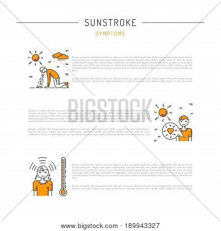 Vector icons with place for text information about the first symptoms of sun stroke, Linear illustration isolated on white background