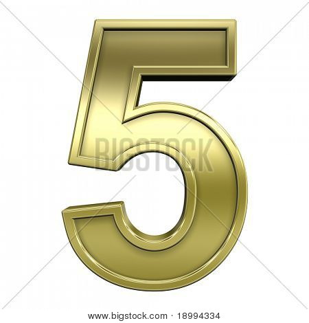 One digit from shiny gold with gold frame alphabet set, isolated on white. Computer generated 3D photo rendering.