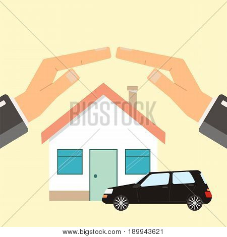 Concept of insurance and protection security. Hands of agent protect house and car. Flat vector illustration.