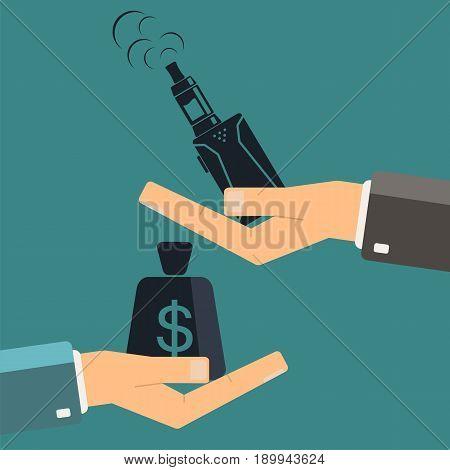 Electronic cigarette in hand. Buying e-cigarette vaping. Vector illustration.