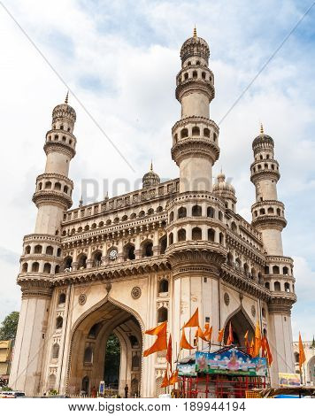The Charminar constructed in 1591 is a monument and mosque located in Hyderabad Telangana India