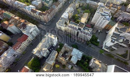 Summer morning in Kiev, aerial view