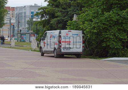 Saransk, Russia - May 31, 2017: Opel Vivaro parked on city street. The Opel Vivaro is a light commercial vehicle produced by Opel.
