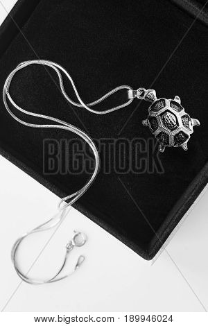 Silver turtle pendant on a chain in black jewel box